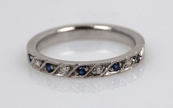 Bead Set Alternating Sapphire & Diamond