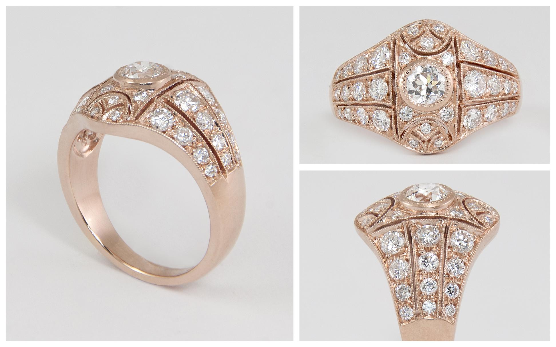 14KR Custom Pierced Vintage Diamond Engagement Ring