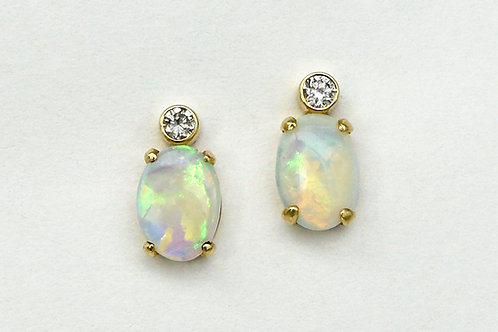 14KY Oval Opal Earrings with Bezel Set Diamond Accent