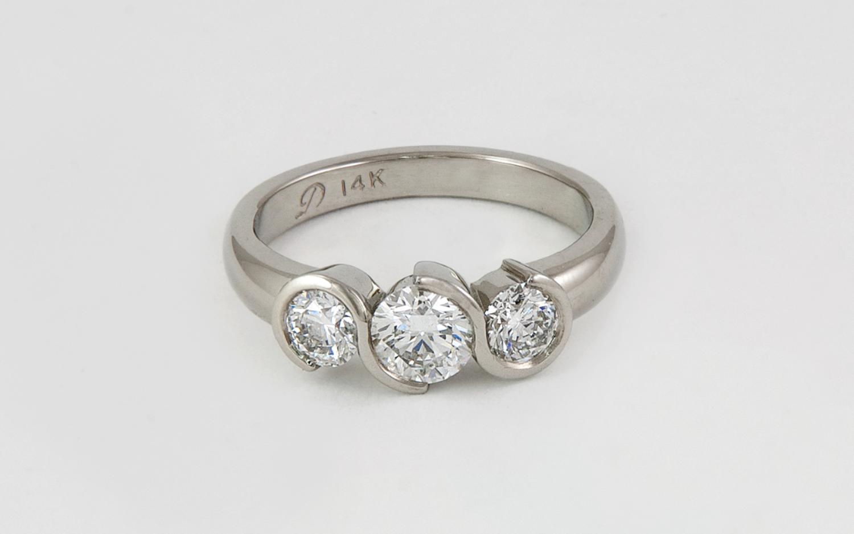 3 Stone Swirl Bezel Diamond Ring