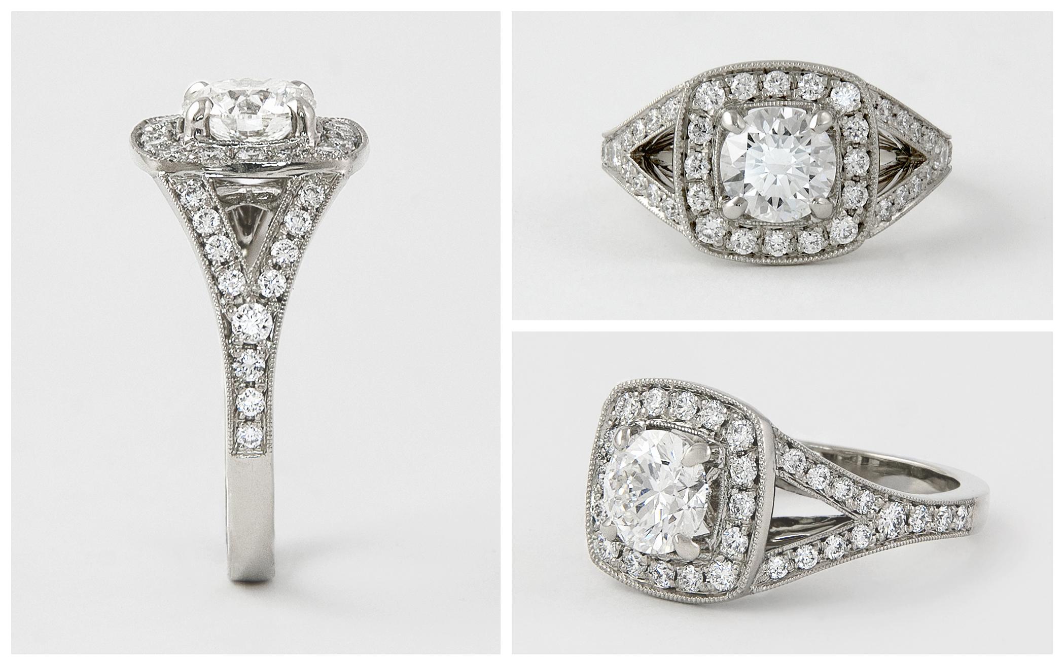 Diamond Halo Split Shank Ring with 1 carat Center