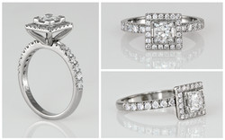 14KW Princess Cut Diamond Halo Engagemen