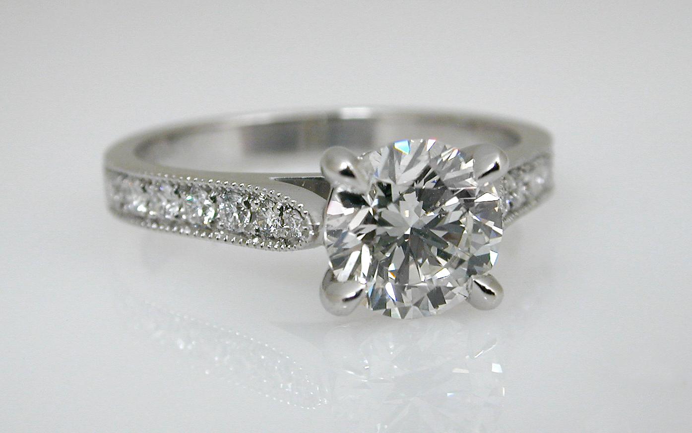 Hand Fabricated Platinum 1 carat with Bead Set Diamonds in Band