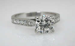 Hand Fabricated Platinum 1 carat with Bead Set Diamonds in Band