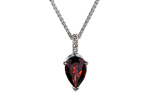 14KW Pear Shaped Garnet Pendant