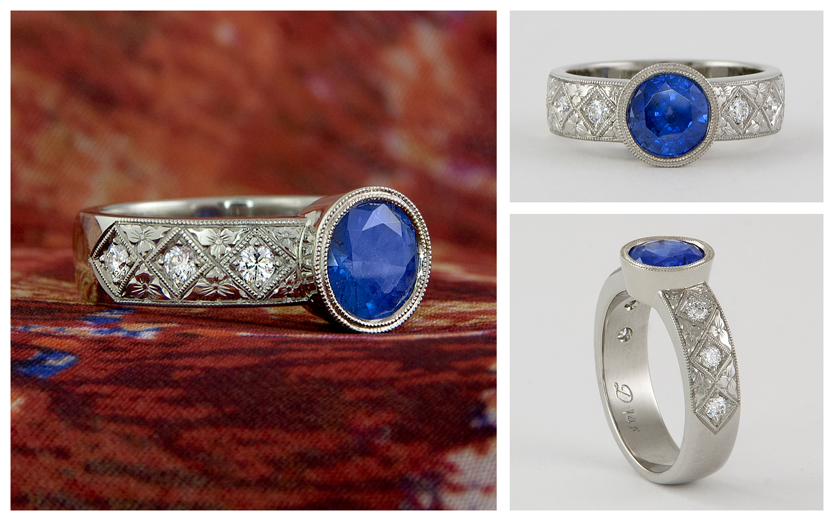 14KXI 1.57CT Sapphire Hand Engraved Ring with 6 .20 Diamonds