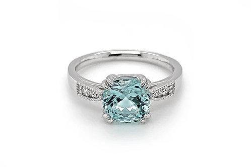 14KW Aquamarine and Diamond Ring