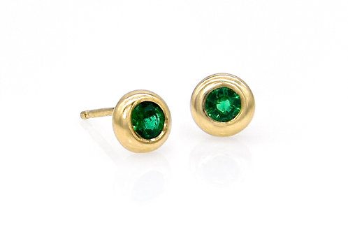 14KY Emerald Doughnut Stud Earrings