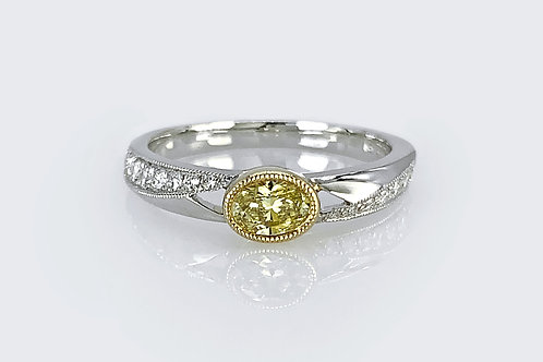 14KW/Y Yellow Diamond Ring with Accent Diamonds