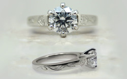 1 carat with Hand Engraved Rose