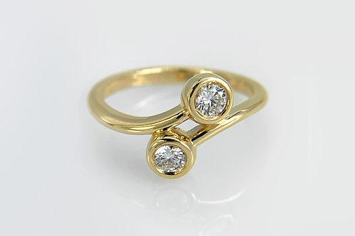 14KY Diamond Bypass Bezel Ring