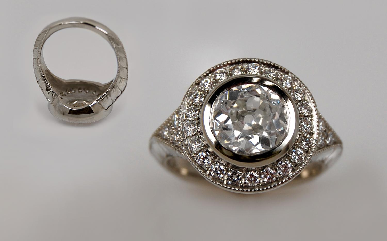 1.54 carat Old European Cut Diamond Hand Engraved Halo