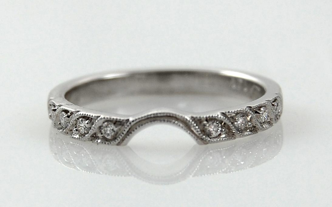 Bead Set Diamond Band with Curve