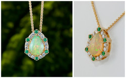 14KY Custom 3.52 carat Ethiopian Pear Shape Opal Pendant