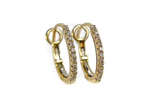 14KY Petite Diamond Huggie Hoop Earrings