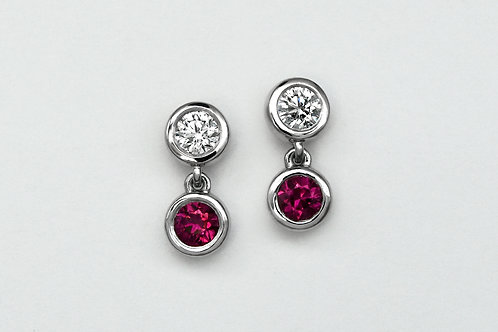 14KW Ruby and Diamond Bezel Earrings