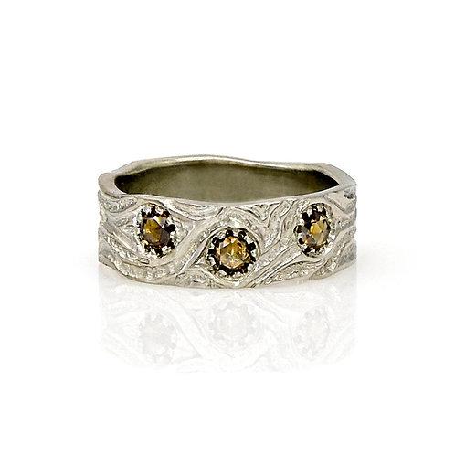 14KW Rose Cut Brown Diamond Ring