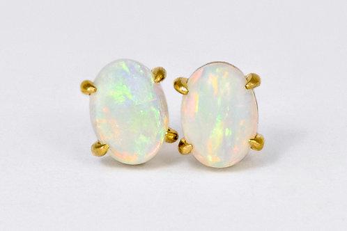 14KY Oval Opal Stud Earrings