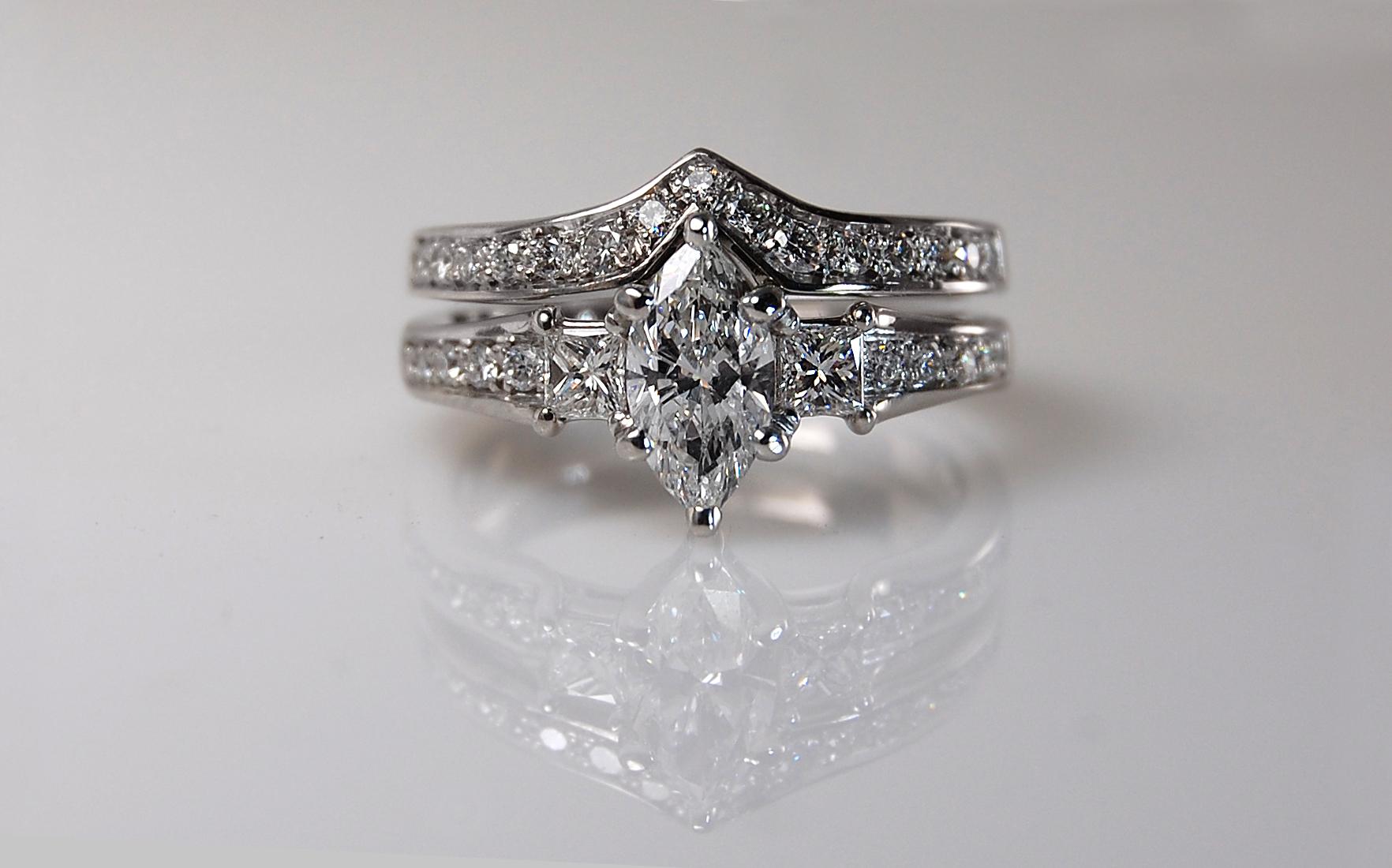 Platinum .70 carat Marquise Wedding Set