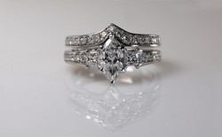 Platinum .70 carat Marquise Wedding Set