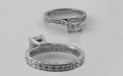 Hand Engraved Platinum 1 carat Princess Cut with Bead Set Diamond Band