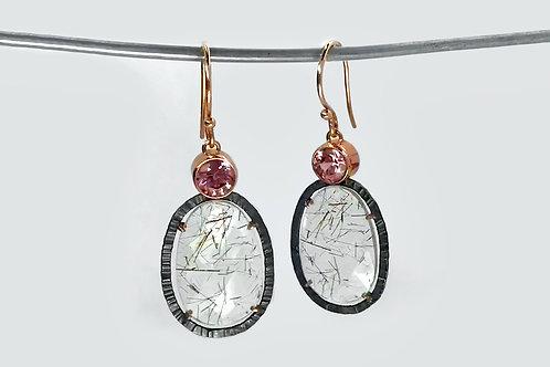 14KR/Sterling Rutilated Quartz and Zircon Earrings