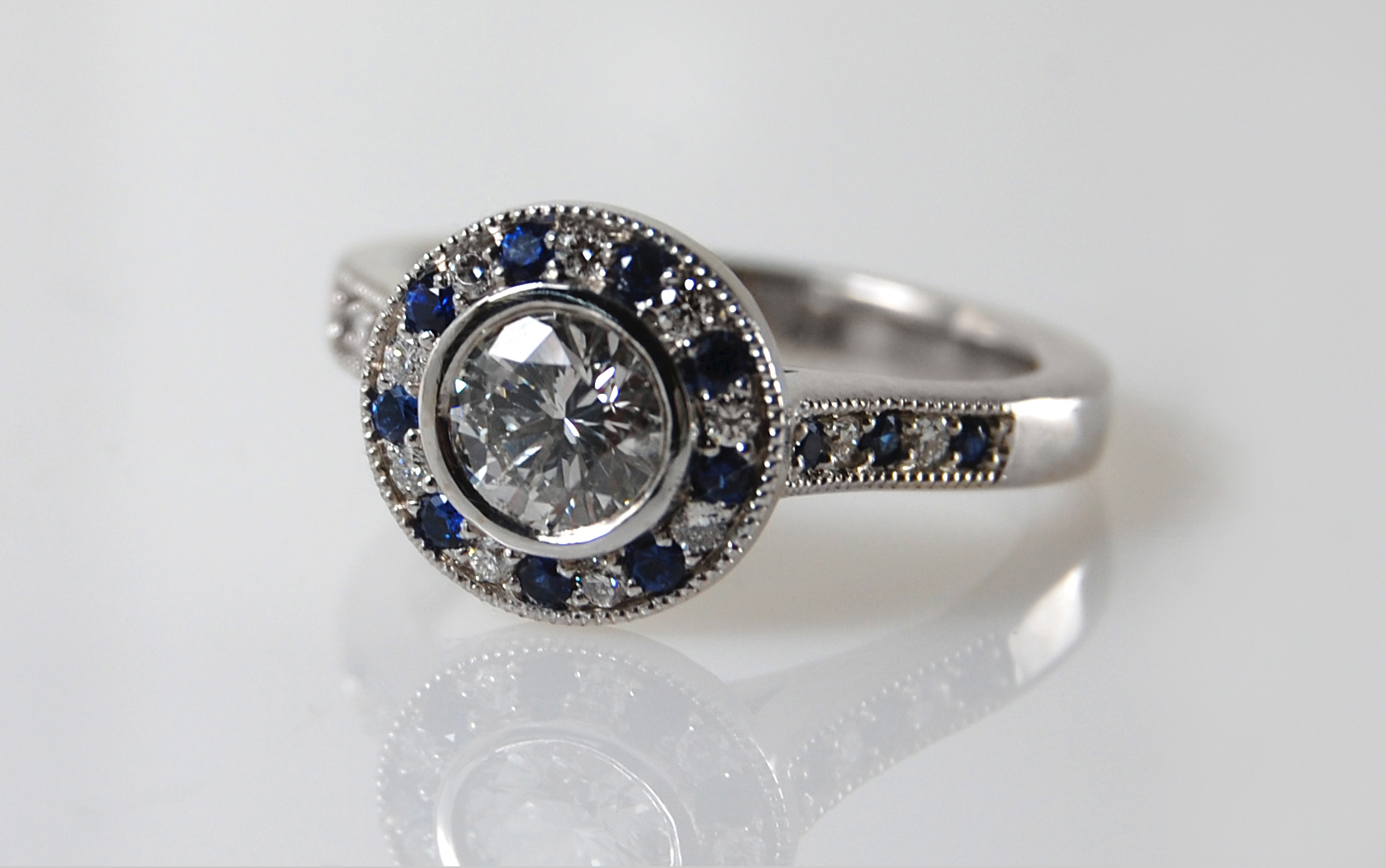 6mm Diamond with Sapphire & Diamond Halo