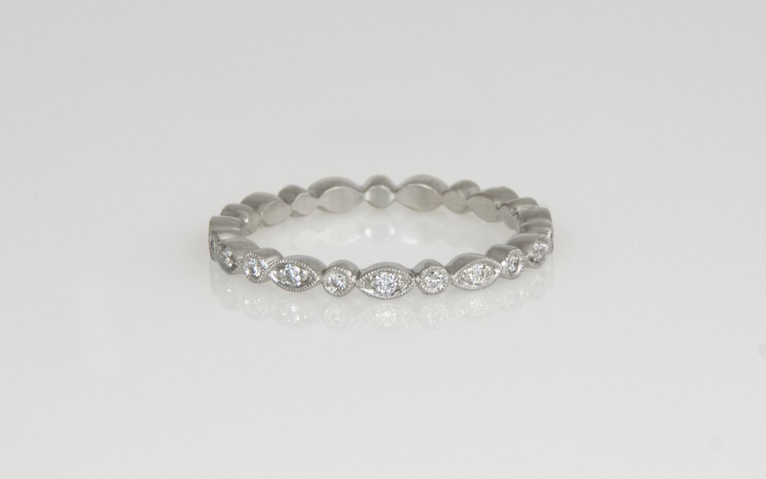 Platinum Hand Fabricated Diamond Wedding Band