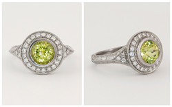 14KW Hand Engraved Chrysoberyl and Diamond Ring