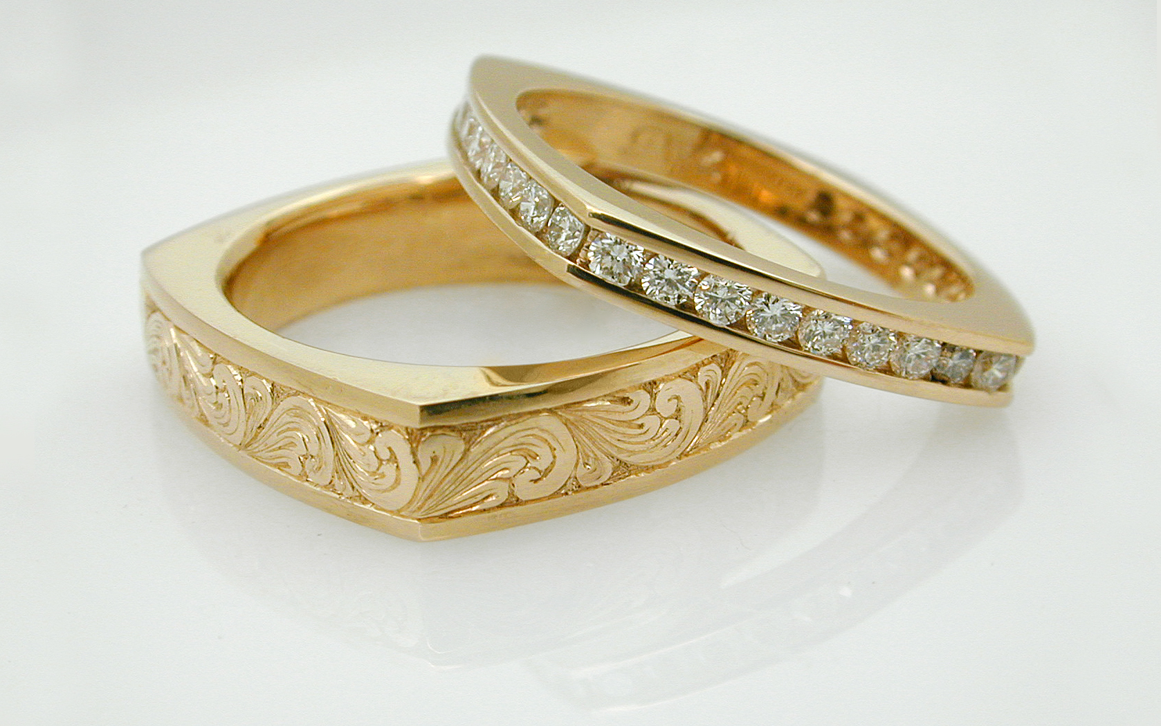 Square Channel Set Diamond Eternity & Hand Engraved Band