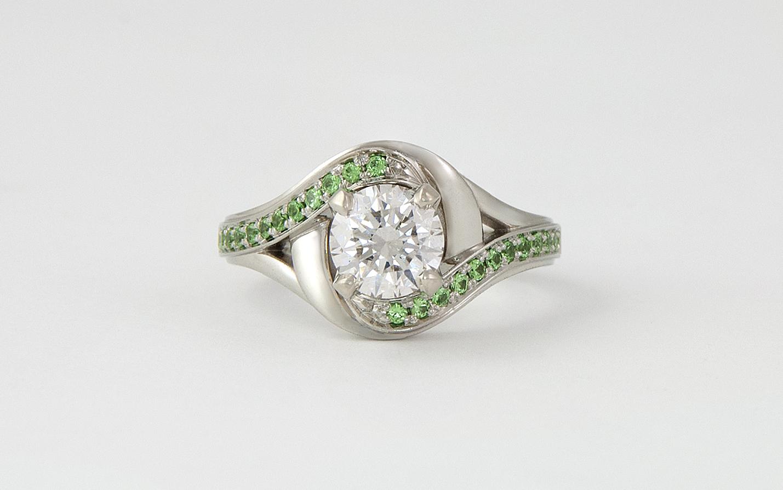 WG Diamond & Tsavorite Garnet Engagement Ring