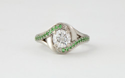 WG Diamond & Tsavorite Garnet Engagement Ring