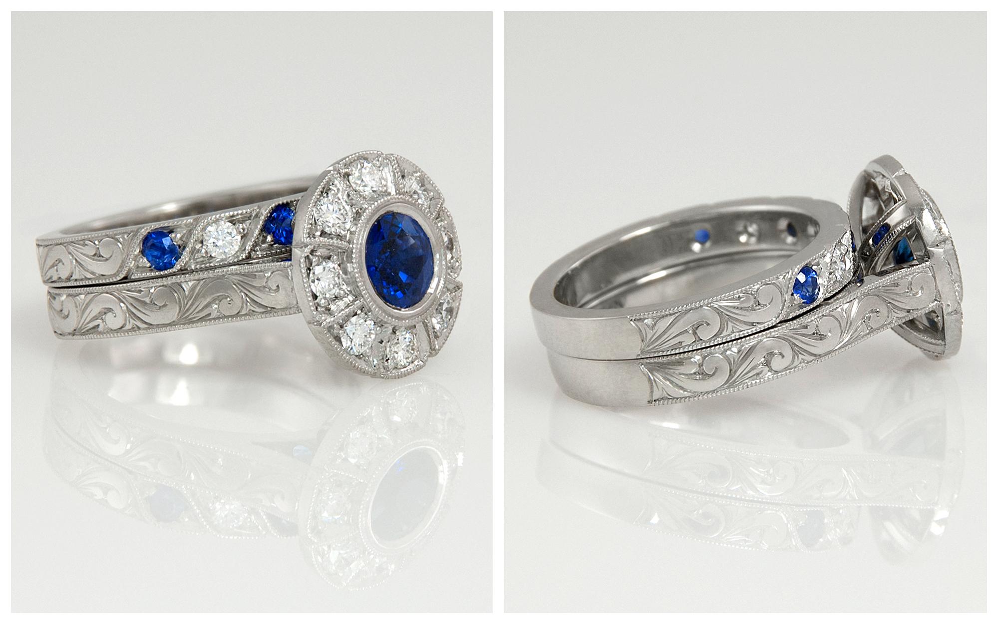 Platinum Hand Engraved Sapphire and Diamond Set