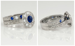 Platinum Hand Engraved Sapphire and Diamond Set