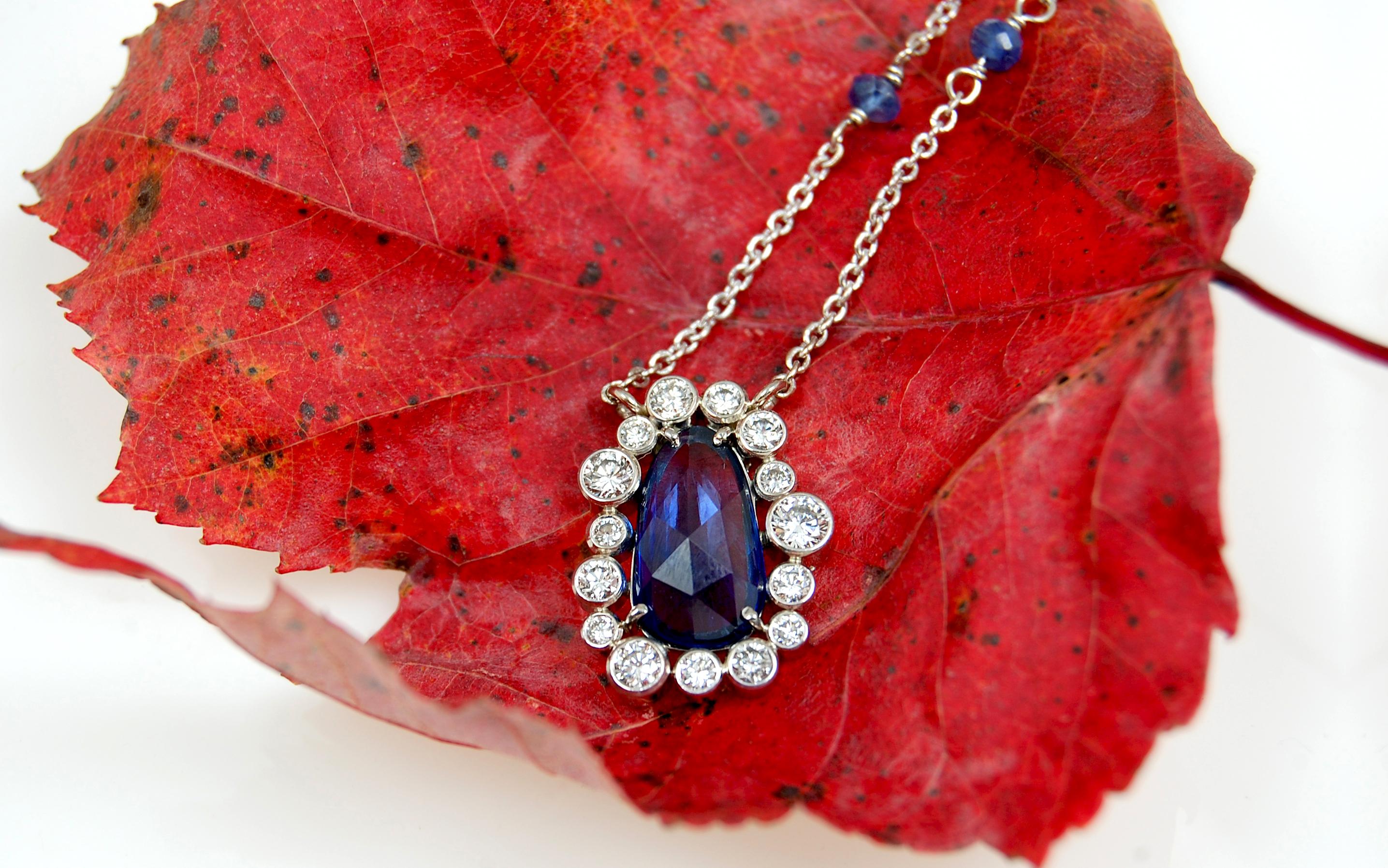 Rose Cut Sapphire & Bezel Set Diamond