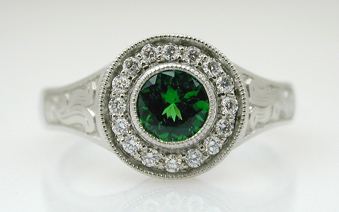 Hand Engraved Tsavorite Garnet & Diamond Halo