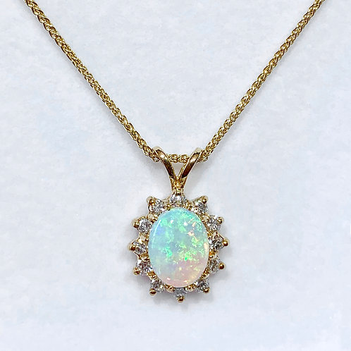 14KY Opal Pendant with Diamond Halo