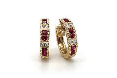 14KY Ruby and Diamond Huggie Hoop Earrings