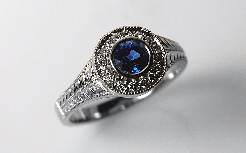 Hand Engraved Sapphire & Diamond Halo