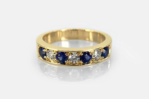 14KY Sapphire and Diamond Bead Set Band