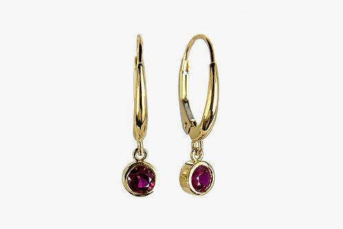 14KY Bezel Ruby Leverback Earrings