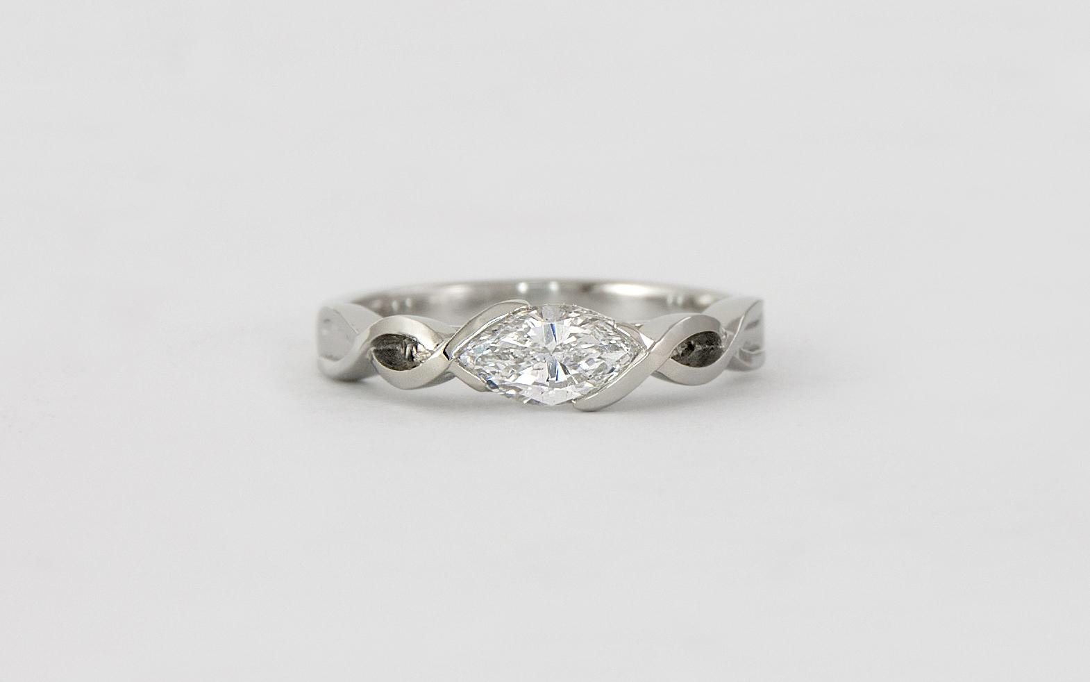 14KW Marquise Diamond Engagement Ring