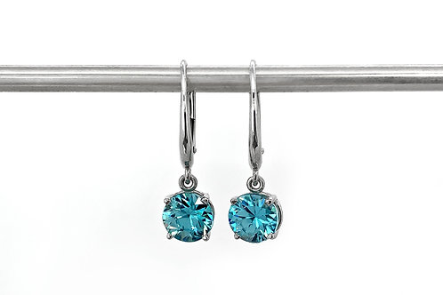 14KW Blue Zircon Leverback Earrings
