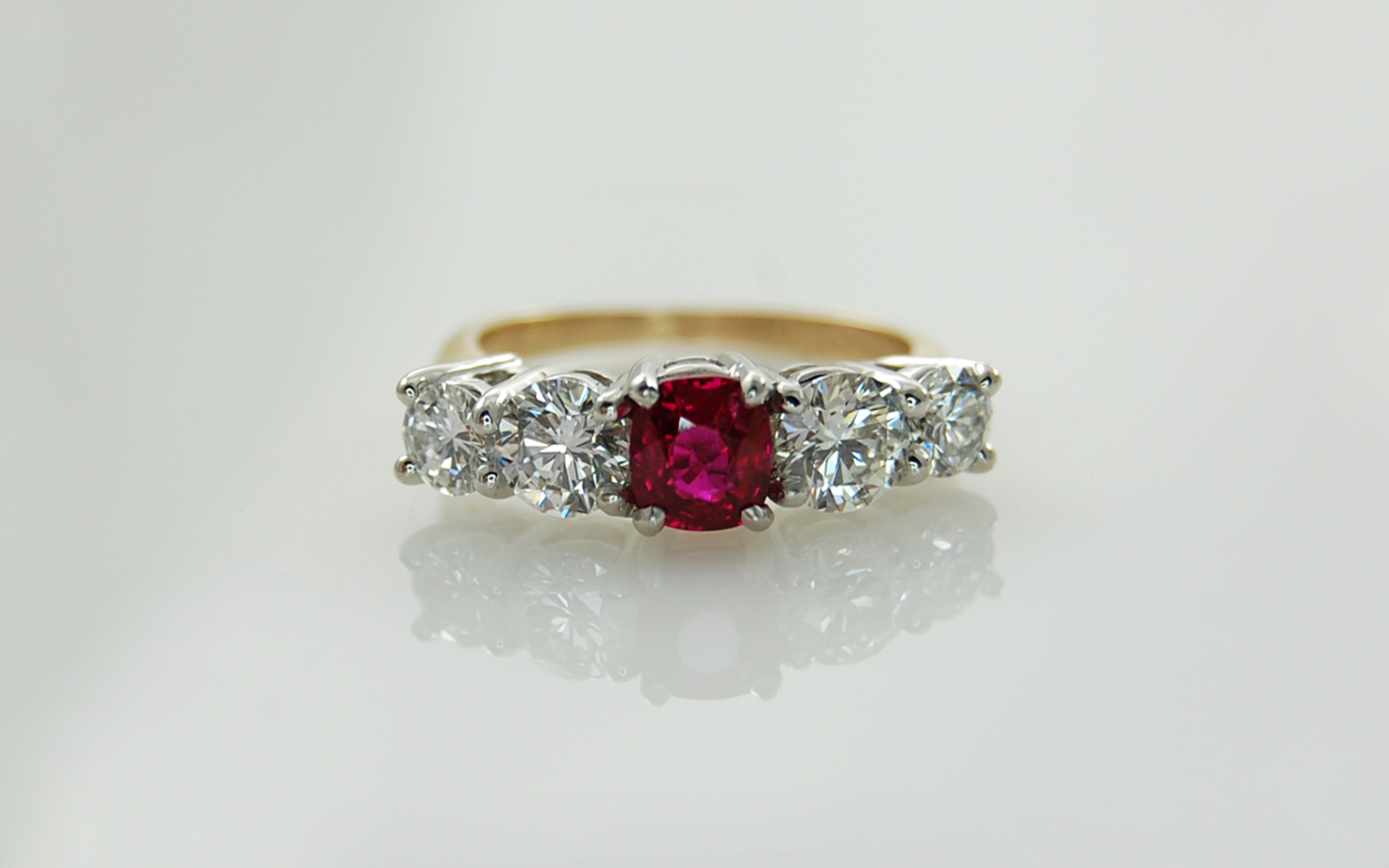 Cushion Cut Ruby & Diamond