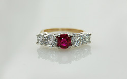 Cushion Cut Ruby & Diamond