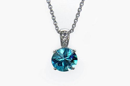 14KW Blue Zircon and Diamond Pendant