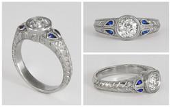 Hand Engraved OEC Diamond and Sapphire R