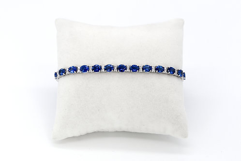 14KW Ceylon Sapphire and Diamond Tennis Bracelet