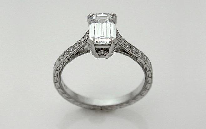 Hand Fabricated Platinum .80 carat Emerald Cut