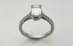 Hand Fabricated Platinum .80 carat Emerald Cut